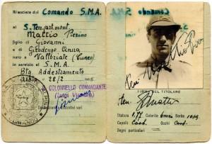 Tesserino della Scuola Militare Alpina di Aosta del Sottotenente Pierino Mattio.