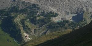 Il lago del Miage, il ghiacciaio e i cordoni morenici nell'estate 2012 - Foto di Gian Mario Navillod.