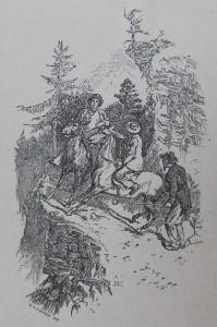 I muli svizzeri che camminano sui bordi dei sentieri – disegno di Edward Wymper – Ex libris Gian Mario Navillod.