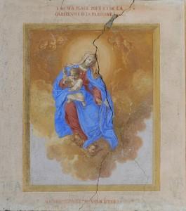 Madonna con il bambino - affresco sulla cappella di Saint Pantaléon a Torgnon - Foto di Gian Mario Navillod.