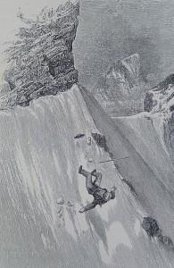 La caduta di Edward Whymper sotto la testa del Leone.