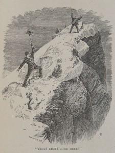 Edward Whymper e Michel Croz sulla vetta del Cervino nel 1865.