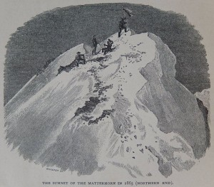 la vetta del Cervino nel 1865, disegno di Edward Whymper.