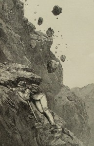 Caduta Massi – disegno di Edward Whymper – Ex libris Gian Mario Navillod.