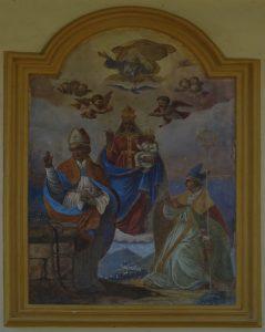 Affresco sulla facciata esterna della parrocchiale di Fontainemore raffigurante la processione ad Oropa - Foto di Gian Mario Navillod.