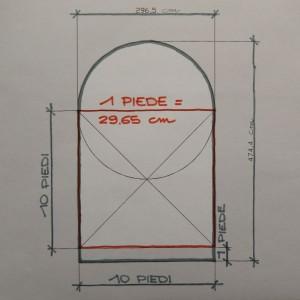 Possibile progetto dell'Arco Romano di Donnas – Disegno di Gian Mario Navillod.