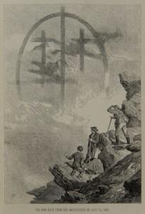 Apparizione ai superstiti della prima ascensione sul Cervino – disegno di Edward Wymper – Ex libris Gian Mario Navillod.