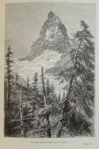 Il Cervino visto dal Riffelberg (Svizzera) – disegno di Edward Wymper – Ex libris Gian Mario Navillod.