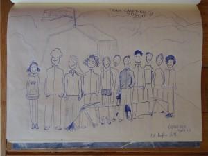 Il Team Camoscio Moscio opera non firmata sul libro del Bivacco Glarey Muggia - penna biro su carta, 15 luglio 2015 - Foto di Gian Mario Navillod.