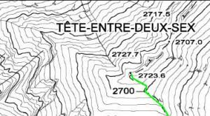 Stralcio dalla carta tecnica regionale © della Regione Autonoma della Valle d'Aosta ( http://geonavsct.partout.it/pub/geosentieri/) coordinate UTM-ED50 347'810-5'077'330