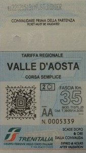 Biglietto ferroviario Aosta Pré-Saint-Didier del 22 dicembre 2015 - Foto di Gian Mario Navillod.