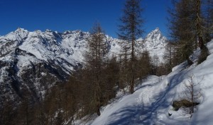 Cervino e Grandes Murailles dal Col Cheneil a Chamois - Foto di Gian Mario Navillod.