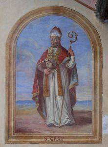 San Grato. Cappella di San Grato a Macognaz, affresco di F. Curta eseguito nel 1878 - Foto di Gian Mario Navillod.