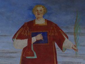 San Leonardo Wechel - affresco sulla facciata della cappella di Verney lungo il Ru de l'Eau Sourde - Foto di Gian Mario Navillod.